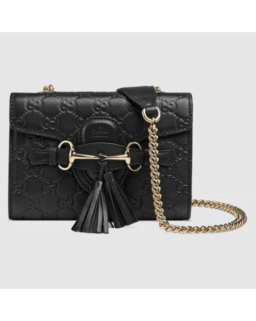 2b8ea9f6877 ... Gucci - Black Emily Ssima Mini Shoulder Bag - Lyst ...