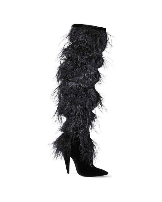 Saint Laurent Black Ysl Yeti Feather Over The Knee Boots