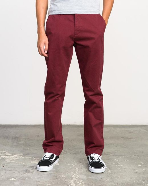 RVCA - Red Stay Chino Pant for Men - Lyst