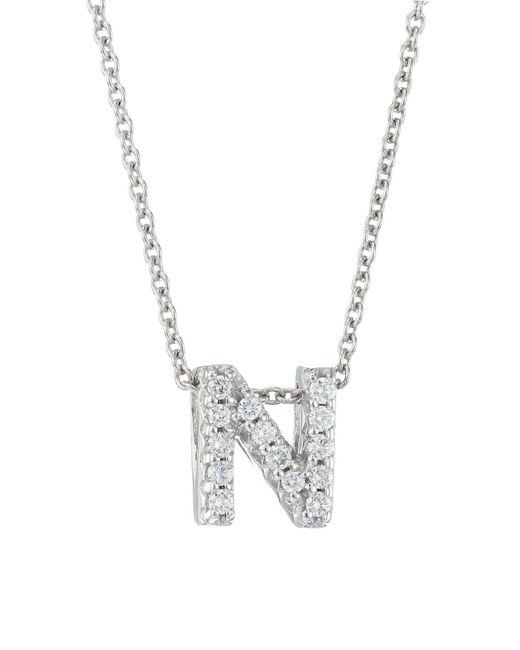 Roberto Coin Metallic Tiny Treasures 18k White Gold & Diamond Love Letter-n Necklace