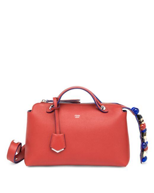 Fendi - Red By The Way Small Studded Leather Satchel - Lyst