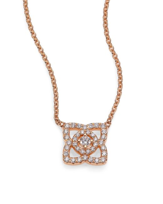 De Beers - Metallic Enchanted Lotus Diamond & 18k Rose Gold Mini Pendant Necklace - Lyst