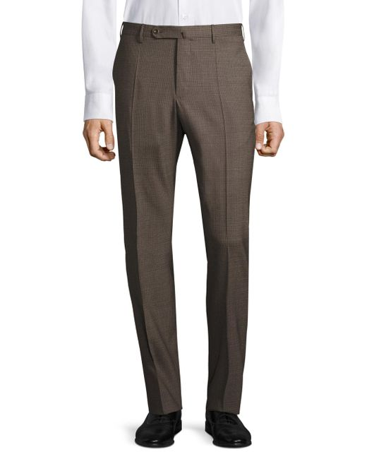 Incotex   Brown Textured Regular-fit Trousers for Men   Lyst
