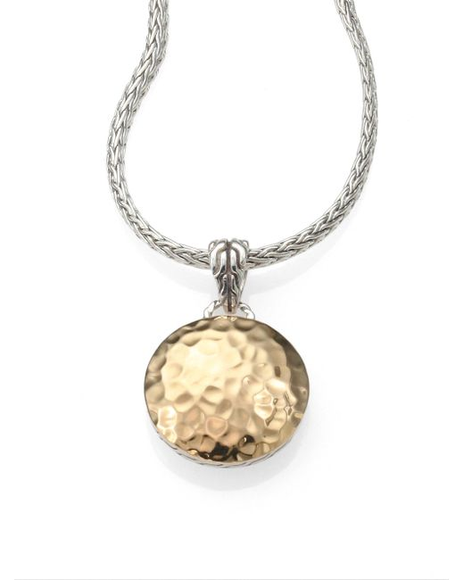 John Hardy - Metallic 18k Yellow Gold & Sterling Silver Hammered Disc Necklace - Lyst