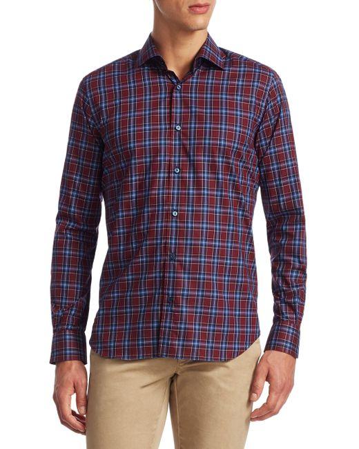 Saks Fifth Avenue - Blue Collection Plaid Cotton Button-down Shirt for Men - Lyst