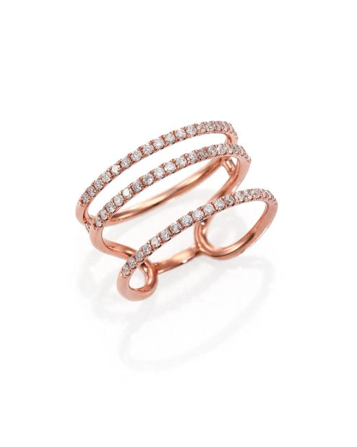 Meira T | Pink Diamond & 14k Rose Gold Triple Band Ring | Lyst