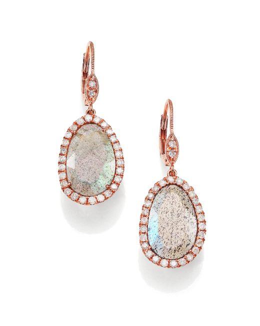 Meira T | Metallic Labradorite, Diamond & 14k Rose Gold Leverback Drop Earrings | Lyst