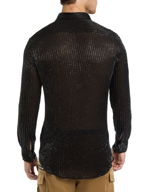 Lyst Dsquared Beaded Silk Button Down Shirt In Black
