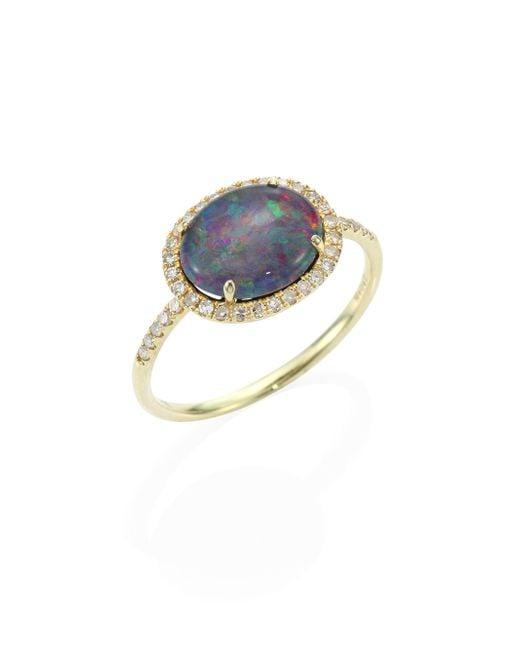 Meira T | Metallic Diamond, Opal Triplet & 14k Yellow Gold Ring | Lyst