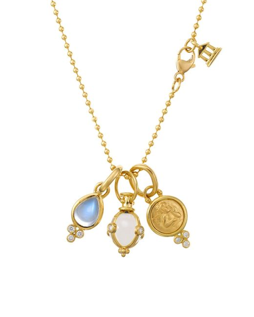 Temple St. Clair Metallic Rock Crystal, Moonstone, Diamond & 18k Yellow Gold Charm Necklace