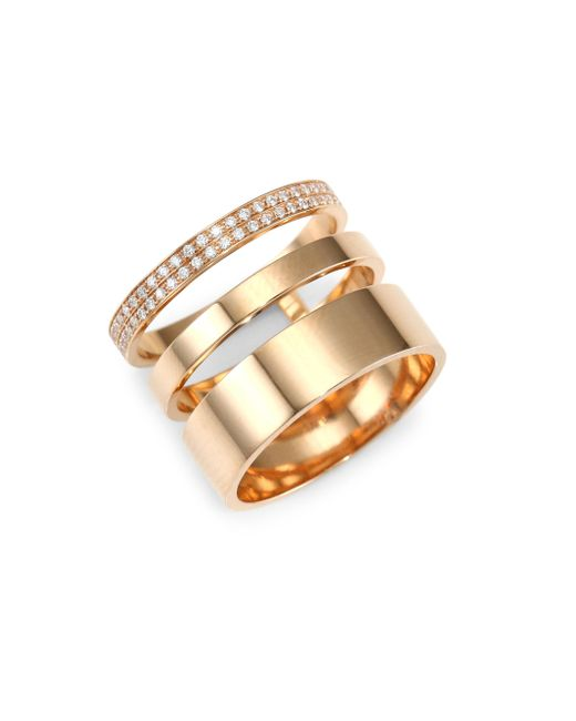 Repossi - Metallic Diamond Pavé 18k Rose Gold Layered Ring - Lyst
