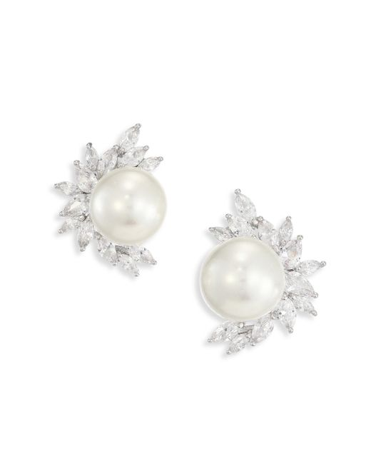 Fallon - White Monarch Marquis Cluster & Faux-pearl Stud Earrings - Lyst