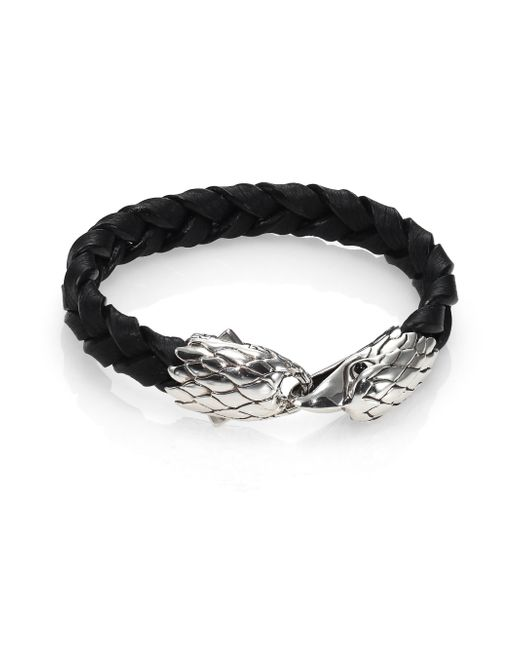 John Hardy | Classic Chain Sterling Silver, Black Chalcedony & Leather Bracelet | Lyst