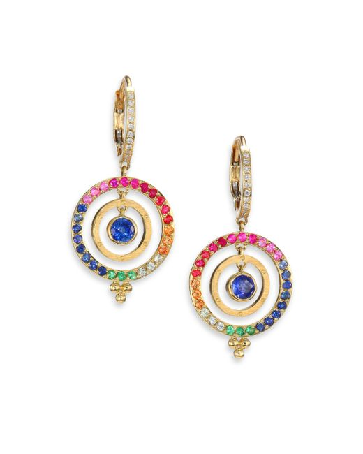 Temple St. Clair | Celestial Multicolor Sapphire, Diamond & 18k Yellow Gold Piccolo Tolomeo Drop Earrings | Lyst