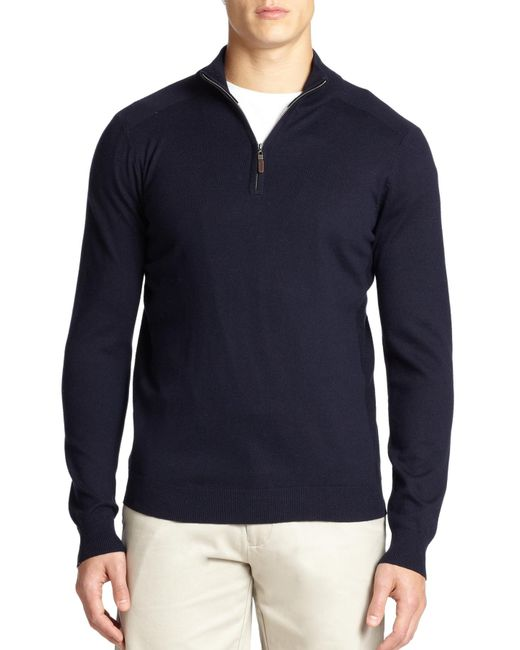 Saks Fifth Avenue | Blue Silk-blend Quarter-zip Sweater for Men | Lyst