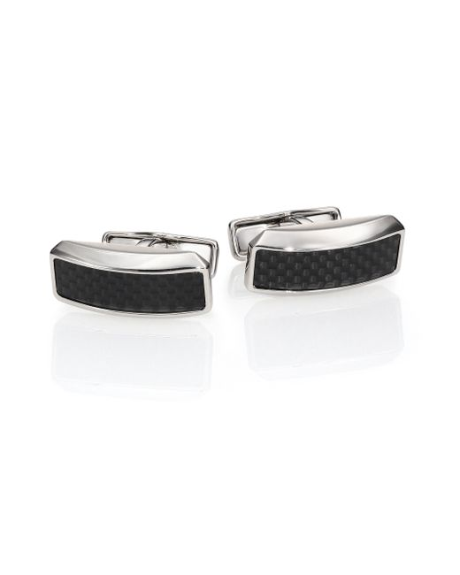 Dunhill | Black Avorities Diamond Pattern Cuff Links for Men | Lyst
