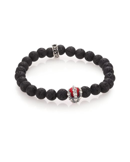 King Baby Studio | Black Lava Rock & Coral Raven Claw Beaded Bracelet | Lyst