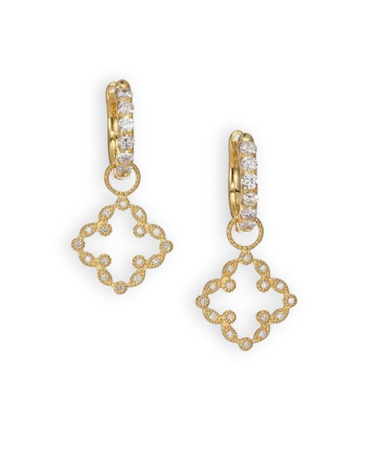 Jude Frances | Metallic Classic Diamond & 18k Yellow Gold Open Clover Marquis Earring Charms | Lyst