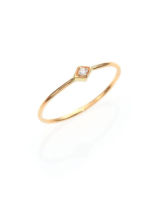 Zoe Chicco | Metallic Diamond & 14k Yellow Gold Midi Ring | Lyst