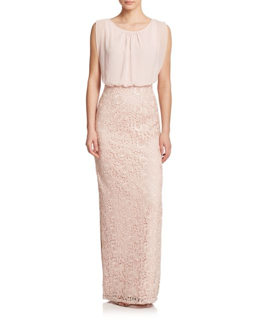 Aidan Mattox | Pink Lace & Chiffon Bridesmaid Gown | Lyst