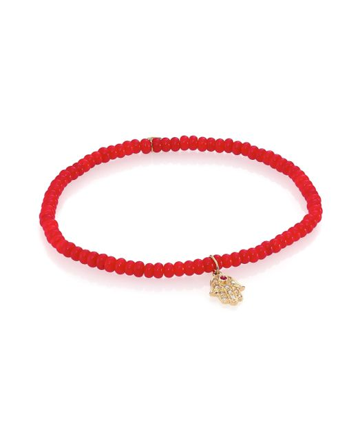 Sydney Evan | Red Baby Hamsa Beaded Bracelet With 14kt Yellow Gold Charm, Diamonds And A Ruby | Lyst