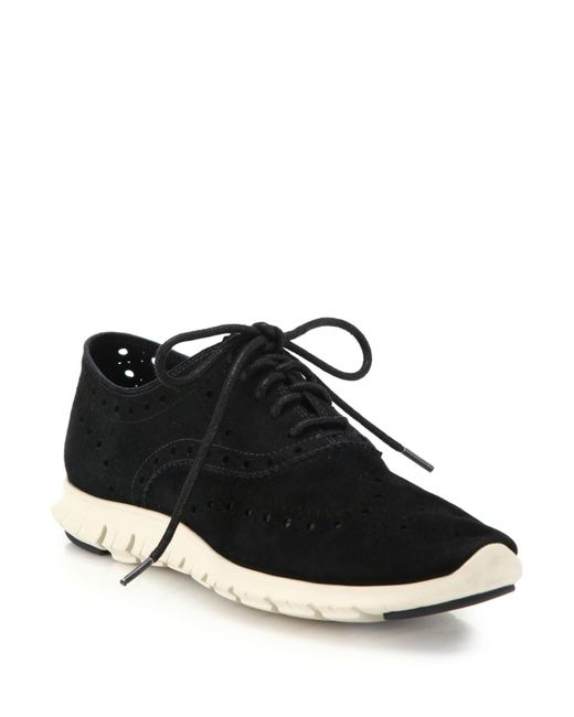 Cole Haan | Black Zerogrand Suede Oxford Sneakers | Lyst