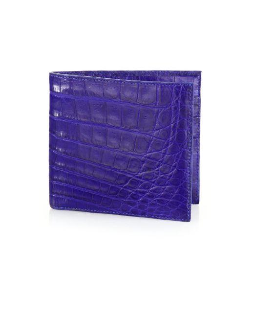 Santiago Gonzalez   Blue Crocodile Billfold Wallet for Men   Lyst