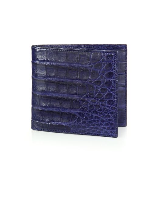 Santiago Gonzalez | Blue Crocodile Billfold Wallet for Men | Lyst