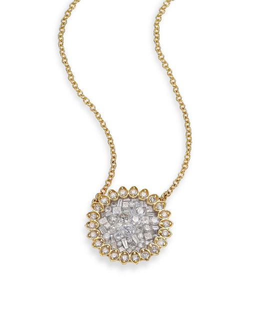 Plevé | Metallic Ice Diamond & 18k Yellow Gold Mini Flower Pendant Necklace | Lyst