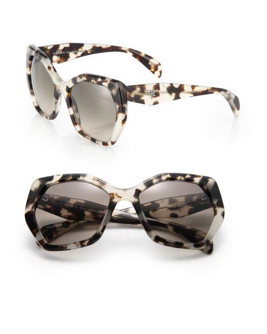 Prada | Gray Angular 56mm Pentagonal Sunglasses | Lyst