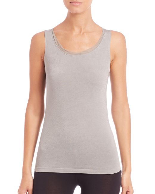 Wolford | Gray Athens Tulle-trim Top | Lyst
