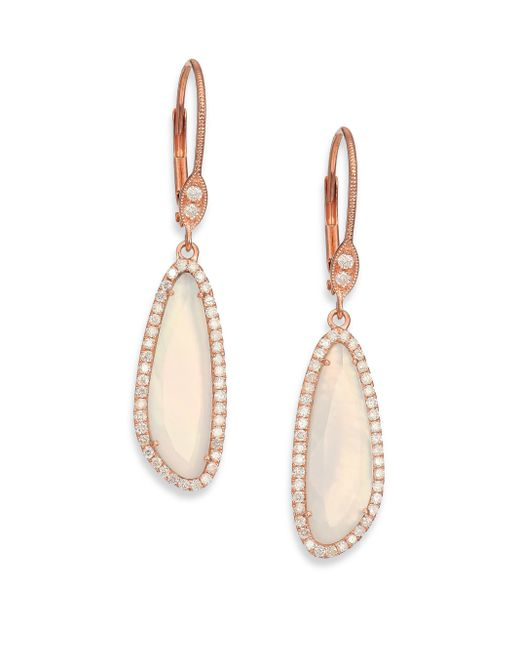 Meira T | Pink Chalcedony, Mother-of-pearl, Diamond & 14k Rose Gold Doublet Drop Earrings | Lyst