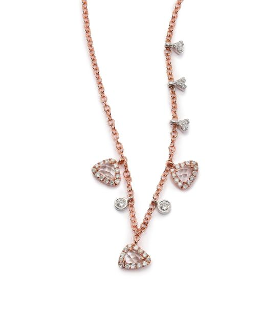 Meira T | Pink White Topaz, Diamond & 14k Rose Gold Charm Necklace | Lyst