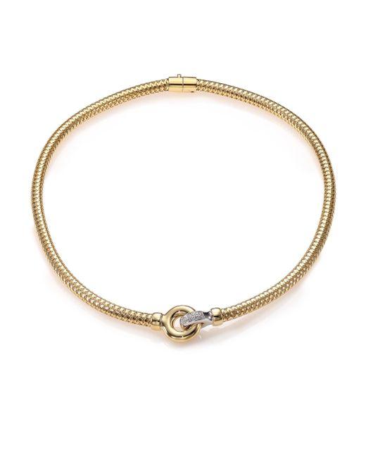 Roberto Coin | Metallic Primavera Diamond, 18k White & Yellow Gold Interlock Collar Necklace | Lyst