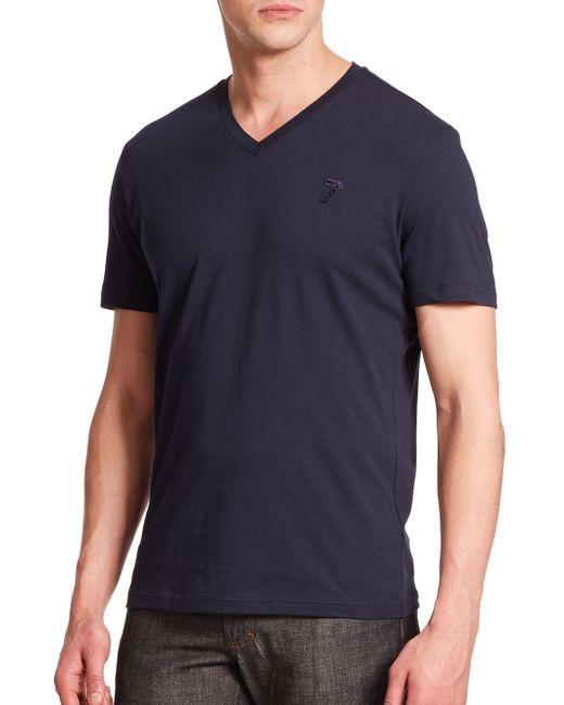 Versace   Blue Cotton V-neck Tee for Men   Lyst
