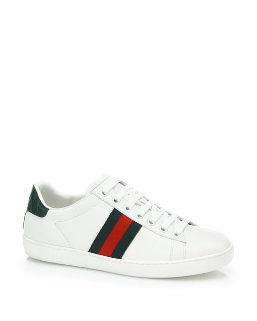 Gucci | Red New Ace Leather And Crocodile Trainers | Lyst