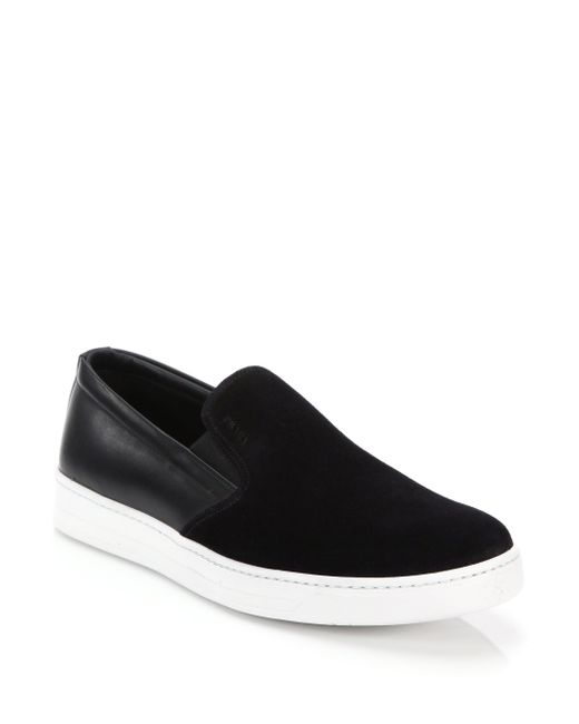 Prada | Black Mixed-media Leather & Suede Slip-on Sneakers for Men | Lyst