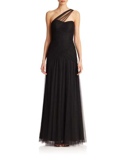 Monique Lhuillier Bridesmaids | Black One-shoulder Tulle Gown | Lyst