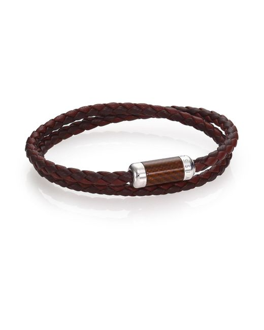 Tateossian   Brown Leather, Carbon Fiber & Sterling Silver Bicolor Braided Bracelet for Men   Lyst