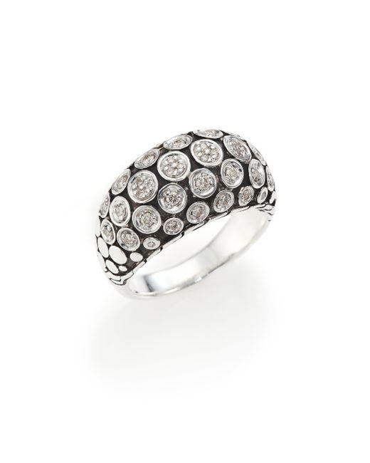 John Hardy | Metallic Dot Diamond & Sterling Silver Dome Ring | Lyst