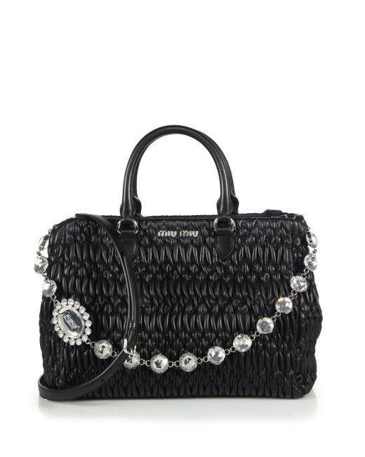 Miu Miu | Black Nappa Crystal Matelasse Leather Satchel | Lyst