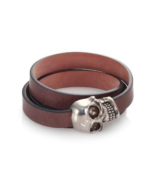 Alexander McQueen | Brown Leather Wrap Skull Bracelet for Men | Lyst