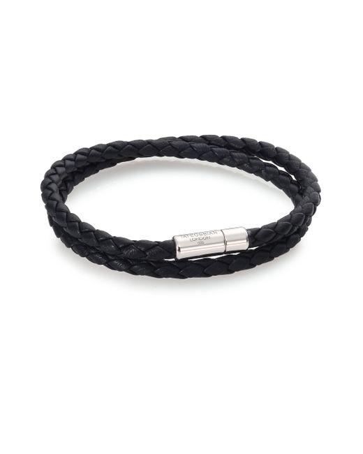 Tateossian | Black Scoubidou Leather & Sterling Silver Braided Double-wrap Bracelet for Men | Lyst