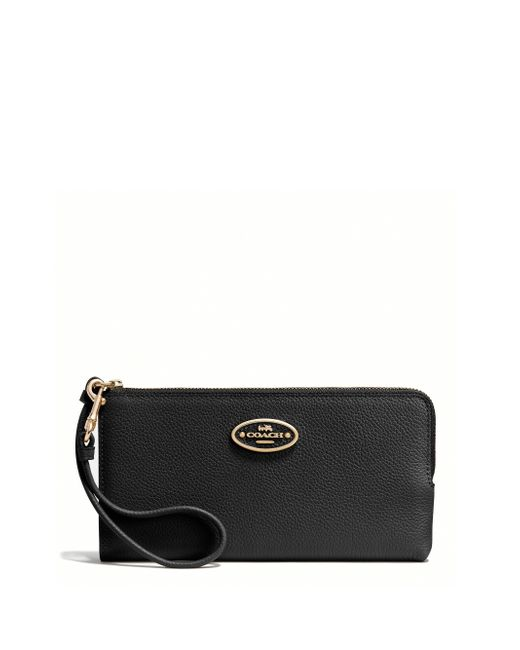 COACH | Black L-zip Wallet In Refined Grain Leather | Lyst