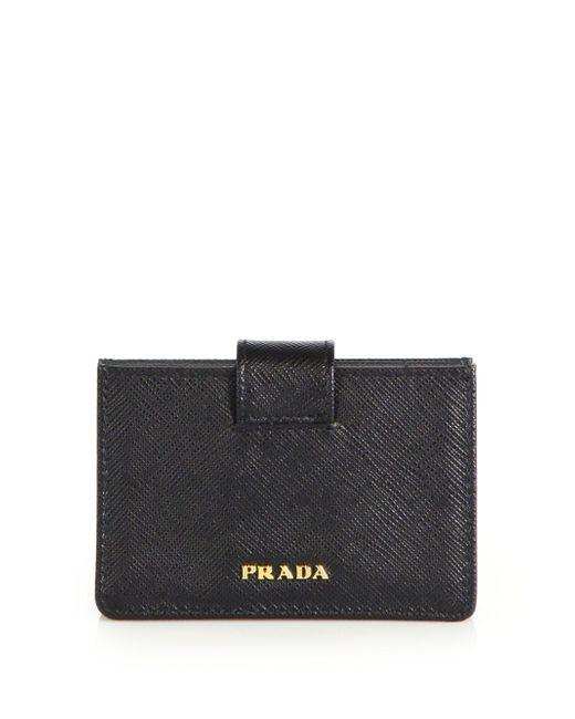 Prada   Black Saffiano Leather Accordion Card Case   Lyst