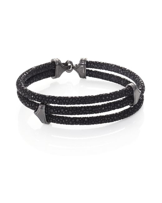 Stinghd   Blackened Silver & Stingray Triangle Wrap Bracelet for Men   Lyst