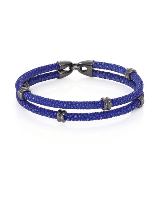 Stinghd | Blue Blackened Silver & Stingray Wrap Bracelet for Men | Lyst