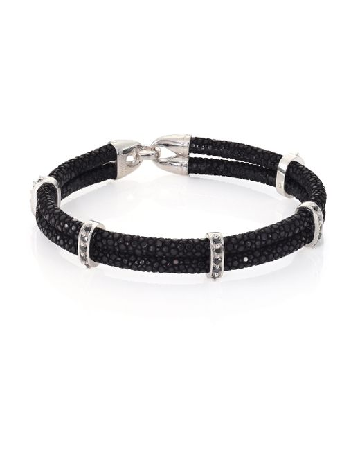 Stinghd | Black Diamond, Silver & Stingray Wrap Bracelet for Men | Lyst