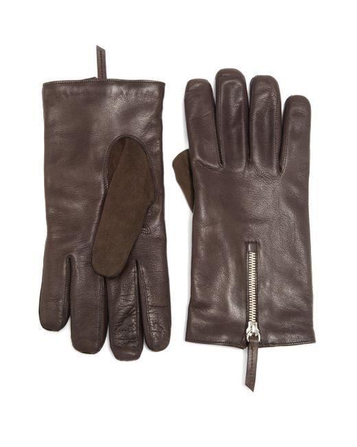 Want Les Essentiels De La Vie | Brown Mozart Leather & Suede Zip Gloves for Men | Lyst