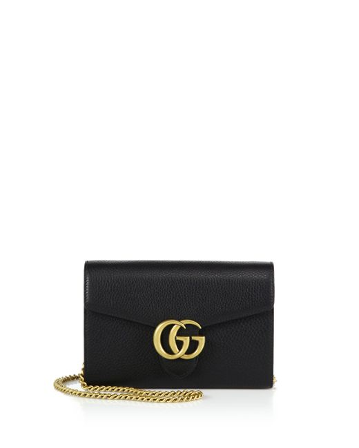 Gucci | Black GG Marmont Leather Chain Strap Wallet Bag | Lyst